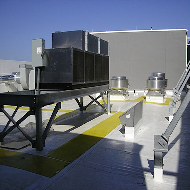 cooking and refigeration equipment on the roof of building